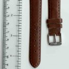 New 16mm Brown Leather Watch Band W/ Silvertone Buckle W/Spring Bars