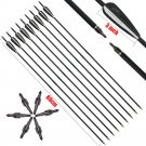 12pcs Black Carbon Arrows 31inch for Recurve/Compound Bow for hunting shoting
