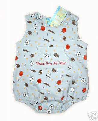 """Happy Happy Halo Blue """"Bless this Allstar"""" Sports Onesie Bubble"""