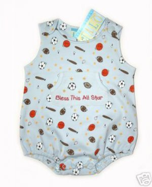 "Happy Happy Halo Blue ""Bless this Allstar"" Sports Onesie Bubble"