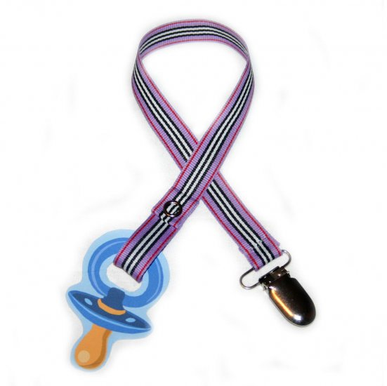 Snigglefritz Purple Stripe Pacifier Holder PACI CLIP w/ STYLE