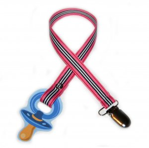 Snigglefritz Pink Stripe Pacifier Holder PACI CLIP w/ STYLE