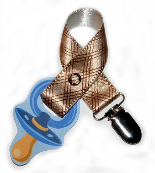 Snigglefritz Brown Plaid Ribbon Paci Clip - Clip with STYLE! - FREE SHIP!