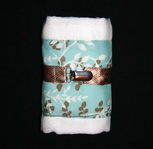 Baby BEATRICE Turqoise and Brown Burp Cloth and Pacifier Clip Gift Set