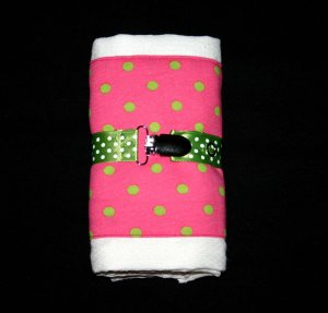 Baby BETTY Pink and Green Burp Cloth and Pacifier Clip Gift Set