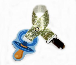 Snigglefritz Green Chic Scroll Ribbon Paci Clip - Clip with STYLE! - FREE SHIP!