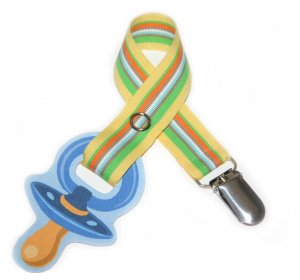 Snigglefritz Yellow Summer Stripe Ribbon Paci Clip - Clip with STYLE! - FREE SHIP!