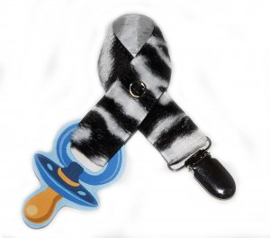 Snigglefritz Black & White Zebra Fur Pacifier Holder PACI CLIP w/ STYLE