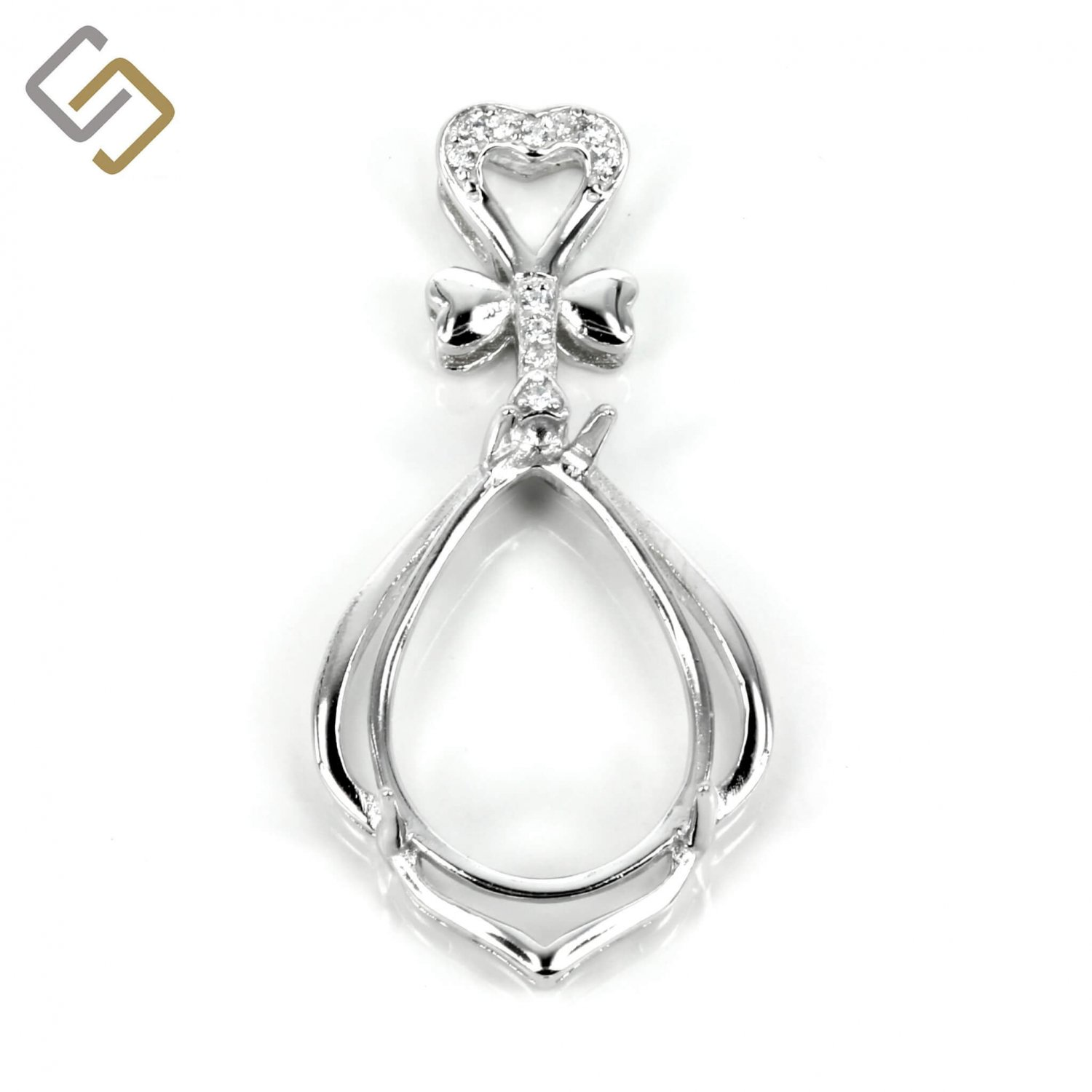 MTP920 Pear shaped pendant in sterling silver for 12x16mm Pear Stones