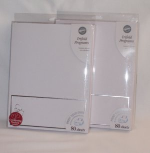 """160 Wilton """"Print Your Own"""" Trifold Wedding Progrms ~ White with Silver Hearts"""