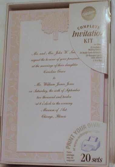 80 WILTON PRINT YOUR OWN INVITATIONS ~ Turning Up Roses   Complete Kit
