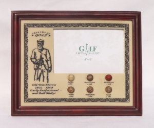 History of Golf Ball Wood Resin Picture Frame New in Box