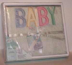 Light Green Woven Baby Blanket in Gift Box infant bedding nursery
