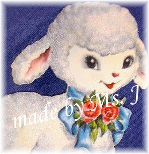 OOAK Vintage Ephemera Magnet, Flocked Lamb, 1950's image; made by Ms. J