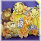 OOAK Vintage Ephemera Magnet, Kitties in Box of Flowers, 1950's Image; made by Ms. J