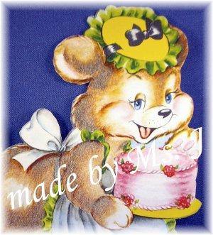 OOAK Vintage Ephemera Magnet, Flocked Birthday Bear, 1950's Image; made by Ms. J