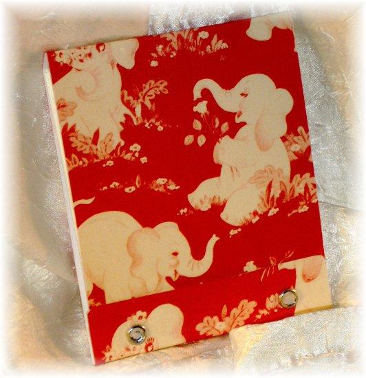 OOAK Vintage Ephemera Matchbook Style Mini Sketch or Notebook, 1950's Elephants; made by Ms. J