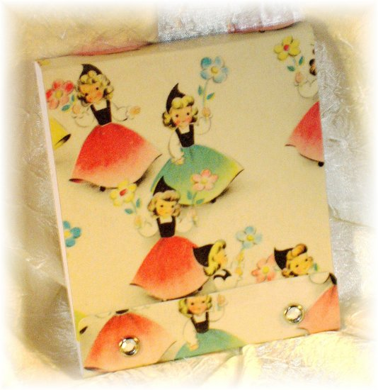 OOAK Vintage Ephemera Matchbook Style Mini Sketch or Notebook, 1950's Flower Girls; made by Ms J