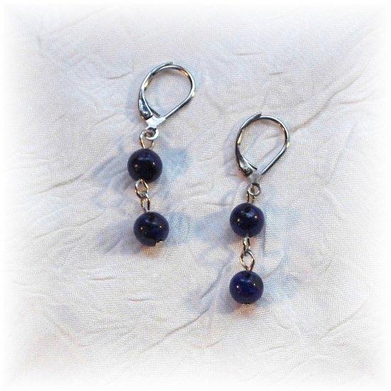 OOAK Dark Blue Lapis Earrings; made by Ms. J jewelry