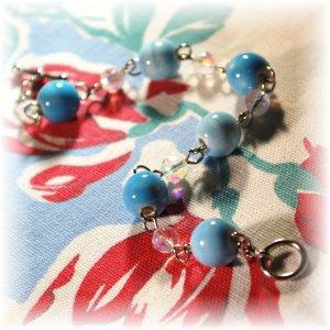 NOW 20% OFF: Light Blue Glazed Ceramic Bead Bracelet; made by Ms. J jewelry