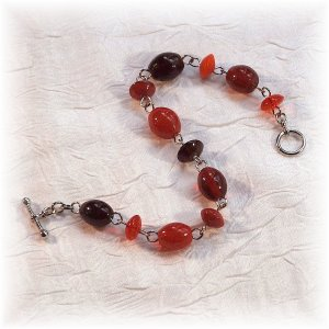 NOW 20% OFF:  Red Glass Bead Mix Bracelet; made by Ms. J jewelry