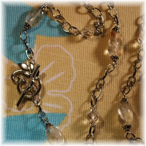 OOAK Super Long Citrine Stone Nugget Necklace; made by Ms. J jewelry
