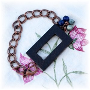 NOW 20% OFF: Copper Chain Bracelet w/Wood Focal Piece, Lapis & Green Jasper Beads; made by Ms. J