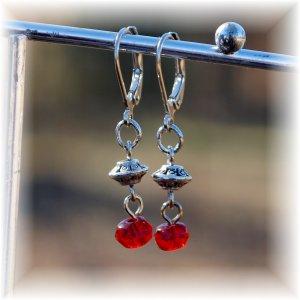 Ruby Red Czech Glass & Silver Tone Earrings; made by Ms. J jewelry