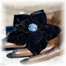 NOW 20% OFF: Black Velvet Vintage Fabric & Button Flower Hairdooey (barrette); made by Ms. J