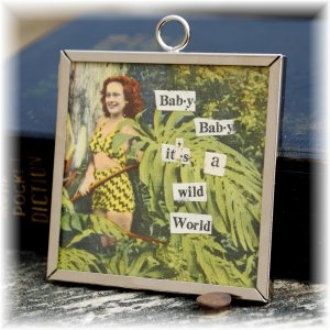 One of a Kind Framed Glass Pendant Wild Woman & Honey Hearts; made by Ms. J jewelry