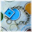 One of a Kind Reversible Glass Framed Focal Piece Bracelet, Blue & Silver; made by Ms. J