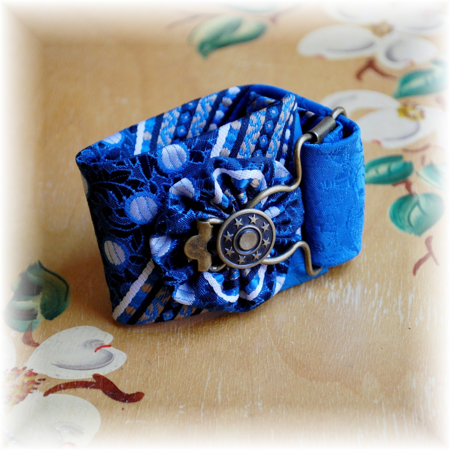 Bold Blue, White, & Black Vintage Neck Tie Cuff Bracelet; made by Ms. J