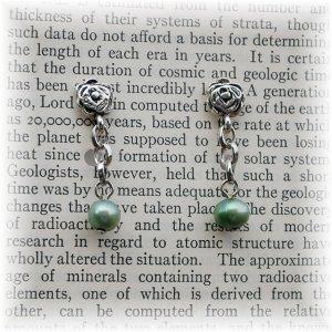 OOAK Green Freshwater Pearl Earrings; made by Ms. J jewelry