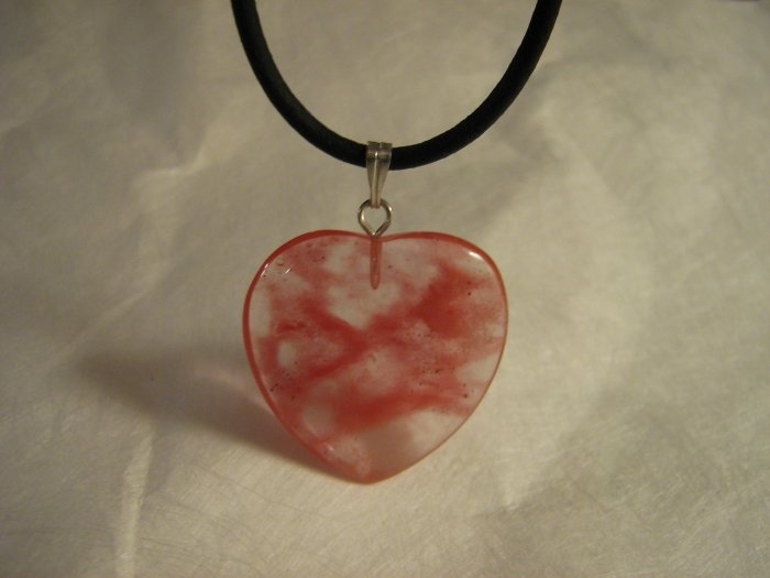 "1"" Glass Heart Pendant Rose Blush Pink Brushstrokes Unique"