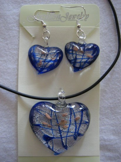Handmade Lampwork Glass Heart Pendant & Earrings Royal Blue Silver Gold Foil 3520