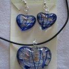 Handmade Lampwork Glass Heart Pendant & Earrings Royal Blue Silver Gold Foil 3520