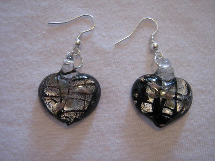 Handmade Lampwork Glass Heart Earrings Dark Brown, Silver & Gold Foil 3529