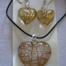 Handmade Lampwork Glass Heart Pendant & Earrings Dark Yellow Silver & Gold Foil 3514