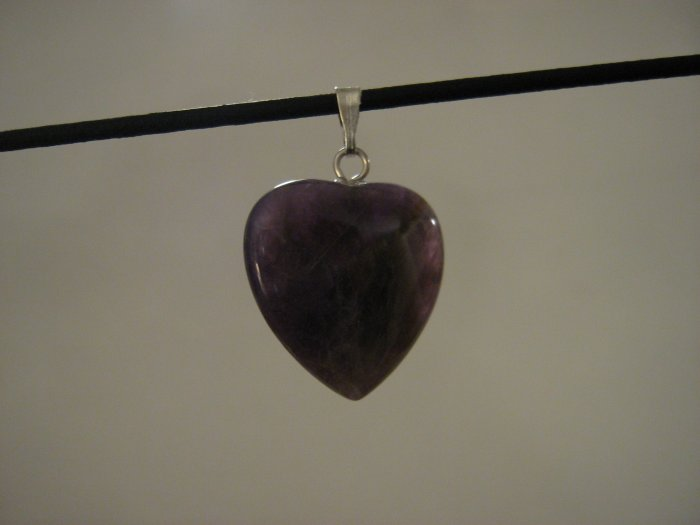 "Unique 3/4"" Amethyst Heart Pendant Necklace Quartz 3569"