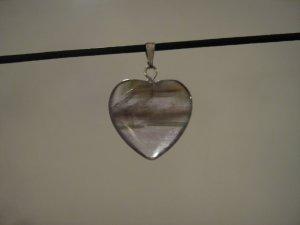 """Unique 3/4"""" Amethyst Heart Pendant Necklace Quartz 3571"""