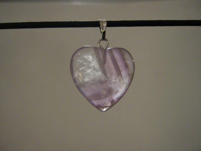 """Unique 3/4"""" Amethyst Heart Pendant Necklace Quartz 3577"""