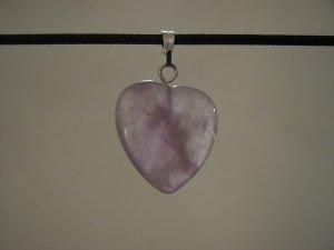 """Unique 3/4"""" Amethyst Heart Pendant Necklace Quartz 3579"""