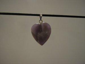 """Unique 3/4"""" Amethyst Heart Pendant Necklace Quartz 3581"""