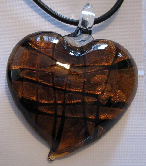 Handmade Dichroic Glass Heart Pendant Amber Brown Gold Foil A4