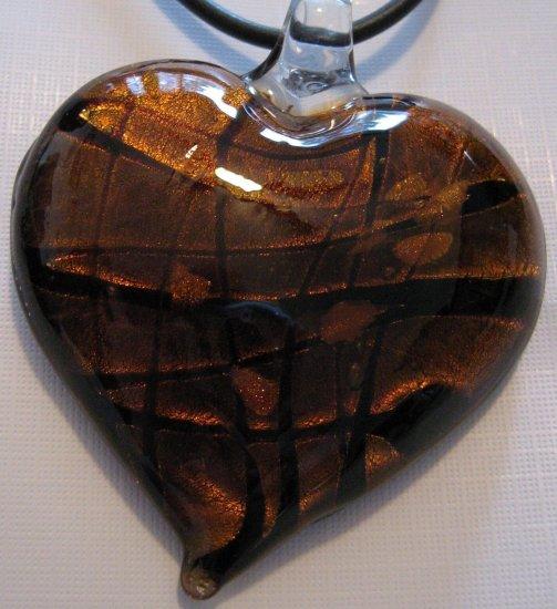 Handmade Amber Heart Pendant Necklace Dichroic Glass Gold Foil A15