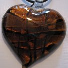 Handmade Amber Heart Pendant Necklace Dichroic Glass Gold Foil A15