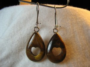 Tiger's Eye Natural Stone Teardrop Earrings with Heart Cutout NSE2