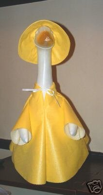 YELLOW Vinyl Raincoat Lawn Goose Clothes Outfit