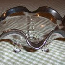 Vintage Scalloped Footed Candy Dish w/ Silver Trim