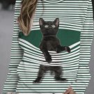 Cute Cartoon Cat Stripe Print Round Neck Casual Long Sleeve Sweatshirts - Green